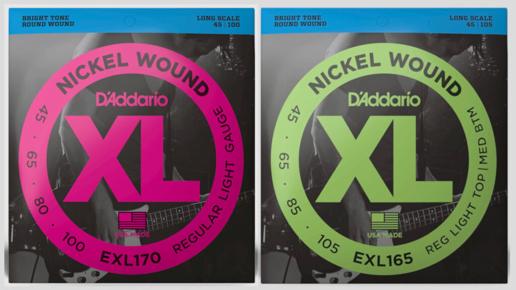 DAddario 3 mute di corde per basso a scelta EXL170 45-100 / EXL165 45-105 Nickel Wound Long Scale Made in Usa