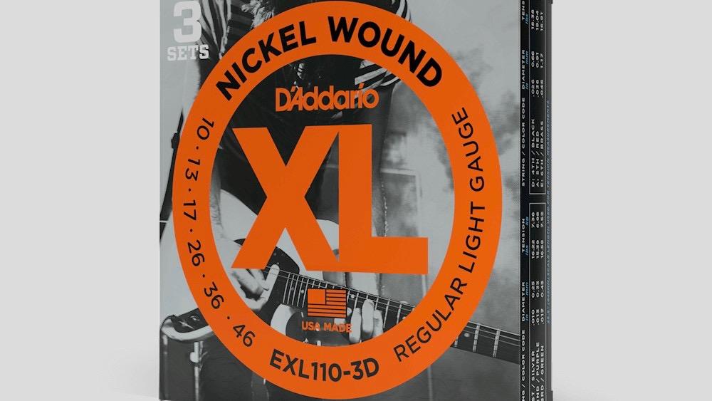 D'Addario 3 mute di corde per chitarra elettrica EXL110 10-46 Nickel Wound (10-13-17-26-36-46) Made in Usa