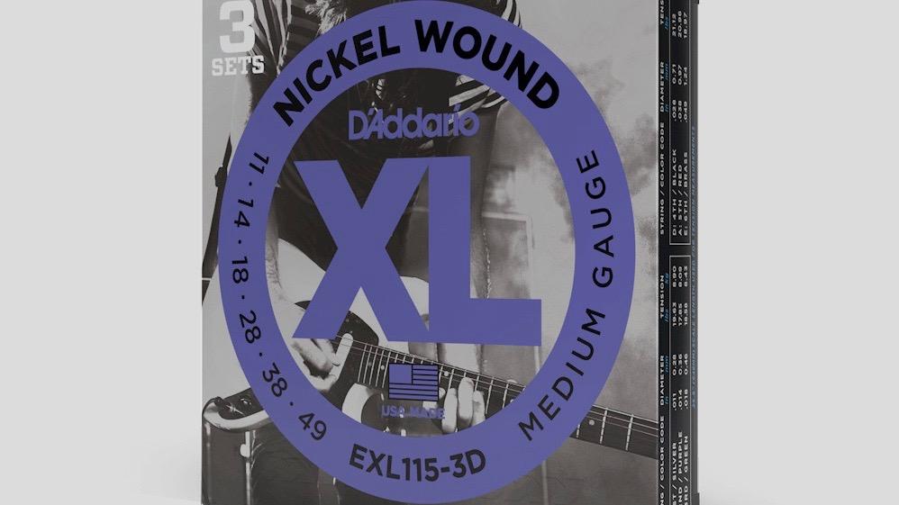 D'Addario 3 mute di corde per chitarra elettrica EXL115 11-49 Nickel Wound (11-14-18-28-38-49) Made in Usa