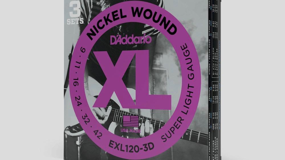D'Addario 3 mute di corde per chitarra elettrica EXL120 9-42 Nickel Wound (9-11-16-24-32-42) Made in Usa