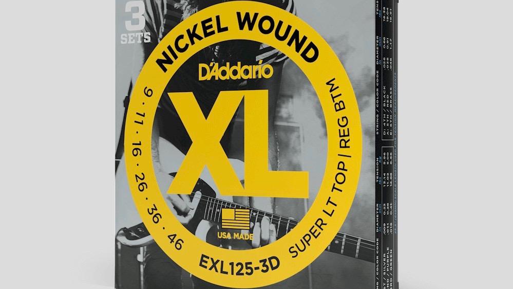 D'Addario 3 mute di corde per chitarra elettrica EXL125 9-46 Nickel Wound (9-11-16-26-36-46) Made in UsaD'Addario 3 mute di corde per chitarra elettrica EXL125 9-46 Nickel Wound (9-11-16-26-36-46) Made in Usa
