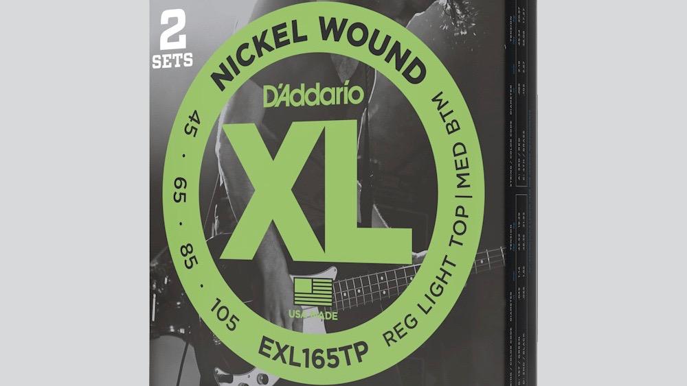 DAddario 4 mute di corde per basso elettrico EXL165 45-105 Nickel Wound Long Scale (45-65-85-105) Made in Usa