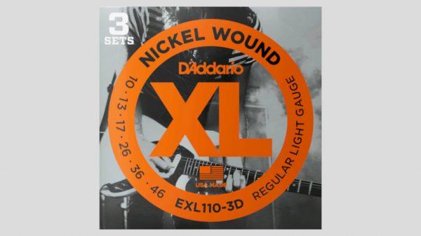 D'Addario EXL110-3D 3 mute di corde per chitarra elettrica 10-46 Nickel Wound (10-13-17-26-36-46) Made in Usa