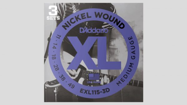 D'Addario EXL115-3D 3 mute di corde per chitarra elettrica 11-49 Nickel Wound (11-14-18-28-38-49) Made in Usa