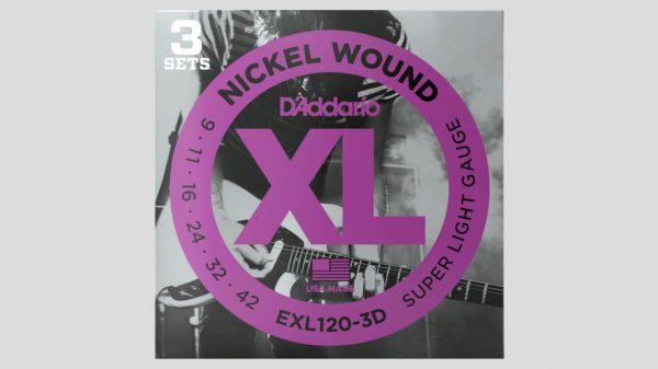 D'Addario EXL120-3D 3 mute di corde per chitarra elettrica 9-42 Nickel Wound (9-11-16-24-32-42) Made in Usa