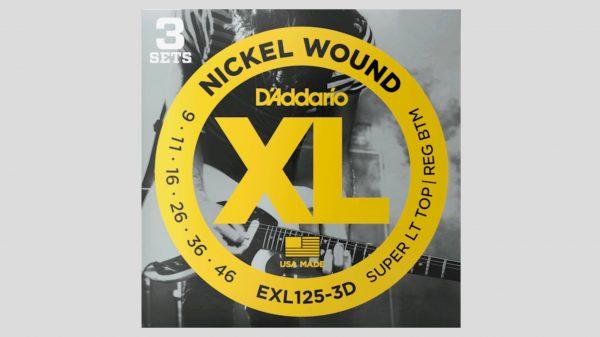 EXL125-3D 3 mute di corde per chitarra elettrica 9-46 Nickel Wound (9-11-16-26-36-46) Made in Usa
