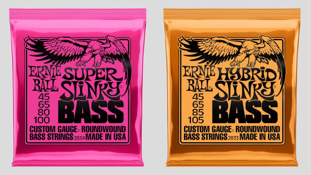 Ernie Ball 2 mute di corde per basso a scelta Super Slinky 45-100 / Hybrid Slinky 45-105 Nickel Wound Made in Usa