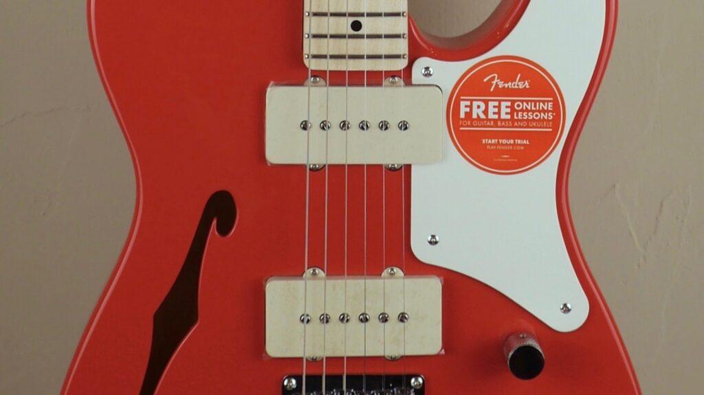 Squier by Fender Cabronita Telecaster Thinline Paranormal Fiesta Red con custodia Fender in omaggio