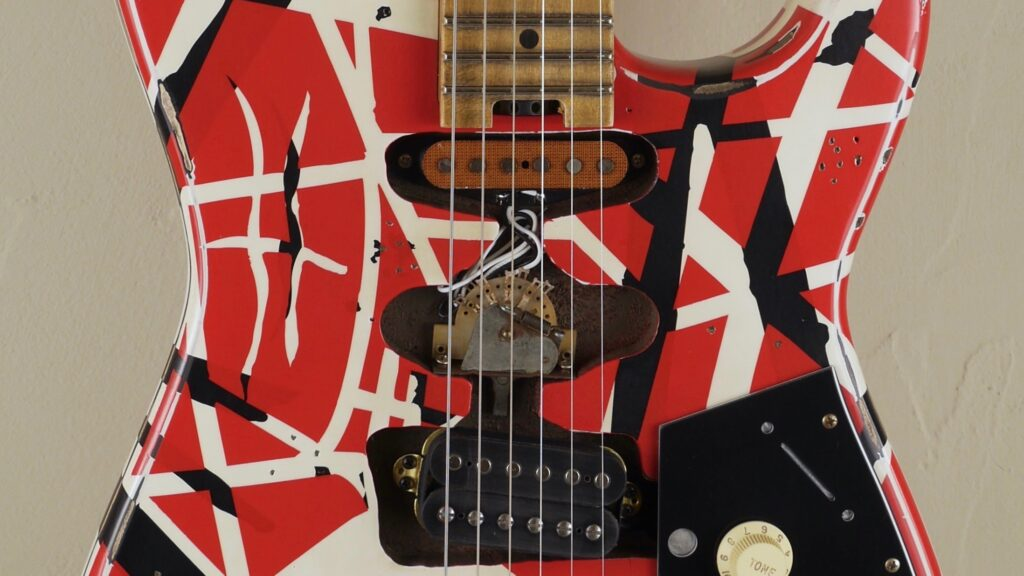 EVH Frankenstein Frankie Relic Striped Series Red with Black and White Stripes 5107900503 Made in Mexico