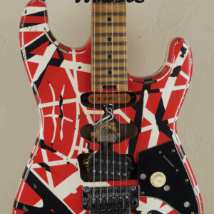 EVH Frankenstein Frankie Relic Striped Series Red with Black and White Stripes 3