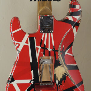 EVH Frankenstein Frankie Relic Striped Series Red with Black and White Stripes 4
