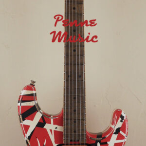 EVH Frankenstein Frankie Relic Striped Series Red with Black and White Stripes 5