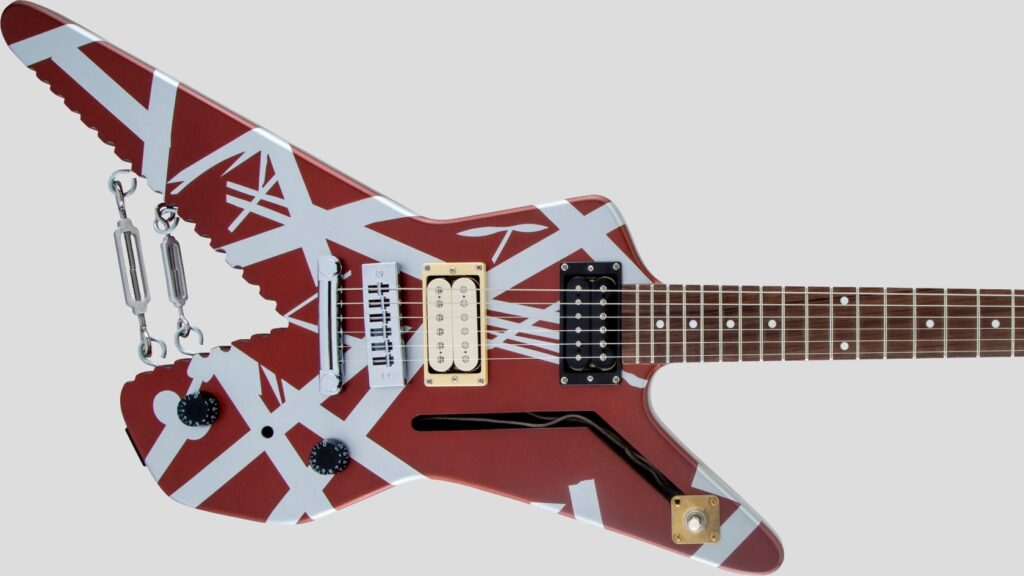 EVH Shark Striped Series Burgundy with Silver Stripes 5107922505 Made in Mexico