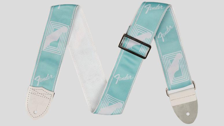 "Fender Custom Monogrammed Strap Daphne Blue 2"" 0990627004 Made in Usa"