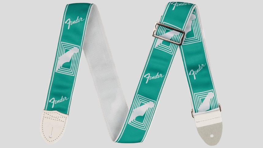 "Fender Custom Monogrammed Strap Seafoam Green 2"" 0990627085 Made in Usa"
