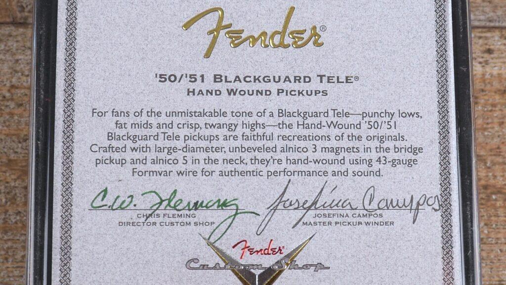 Fender Custom Shop Josefina Campos 50/51 Blackguard Telecaster Hand-Wound Pickup Set 0992274000 Made in Usa