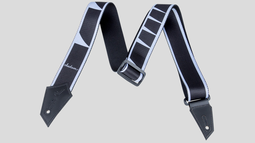 """Jackson Strap with Sharkfin Inlay Pattern Black/White 2"""" 2993738001 Made in Canada"""